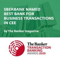 Sberbank byla vyhlášena nejlepší transakční bankou CEE